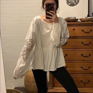 Free People Gorgeous Babydoll Shirt Lace Details